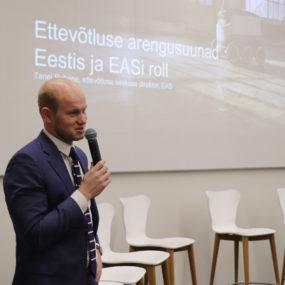 """Ettekanne """"Ettevõtluse arengusuundadest Eestis. Naiste ettevõtlus välisturgudel, eksport."""" Tanel Rebane, EAS"""